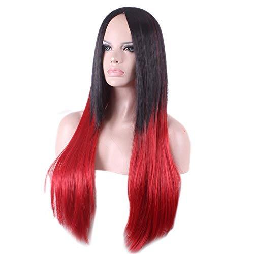26inchesSchwarze Wurzeln Rot Zwei Töne Lange Gerade Synthetische Haarperücken Für Frauen Mit Freier A Perücke Kappe - Ton-club-kit