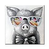 XIAOXINYUAN 100% Handgemalt Modernen Abstrakten Niedliche Tier Öl Malerei Gläser Grau Schwein Wand Bild Kunst Für Kinder Zimmer Home Decor 70 × 70 cm