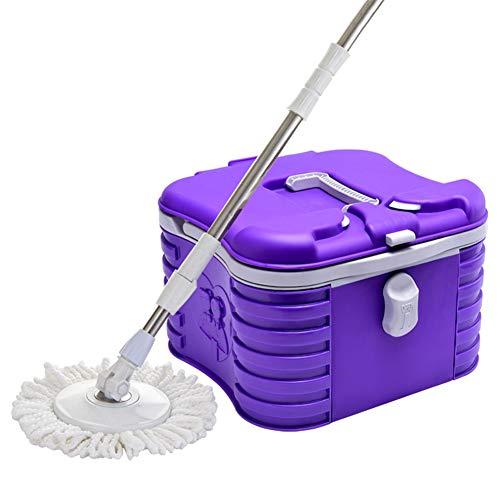 Qaq pieghevole scopa rotazione a 360° 2 testine in cotone pulizia/asciugatura a pressione manuale,purple,onesize