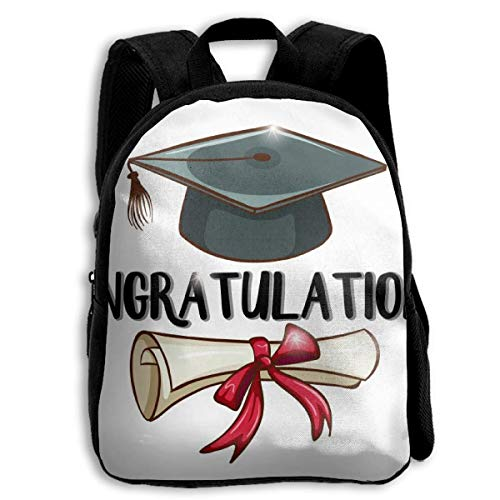 rats Graduation Cap and Diploma Children's Backpack Kids School Bag with Adjustable Shoulders Ergonomic Back Pad Perfect for School Security Sporting Events Kinderrucksack Rucksa ()