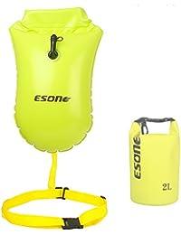 Esone - 15L natación boya de seguridad y bolsa seca / temporada para abierto agua nadadores, triatletas, kayakers y snorkelers seguro natación con 2L bolsa seca (amarillo)