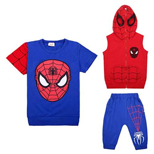 Spiderman Junge Sommer T-Shirt Anzug, Avengers Kinder Outfits Baumwolldruck Dreiteiliges Set Kleidung Top + Shorts 3-11 Jahre Blue-110cm