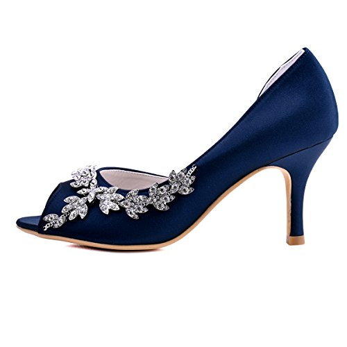 ElegantPark EL-005 Escarpins Femme Strass D'orsay Bout ouvert Pompes Chaussures de Mariage Mariee Bleu Marine