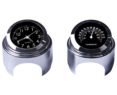 Reloj para moto universal de 22 mm para manillares de 25 mm. De aluminio cromado. Con termómetro. Con abrazadera. Impermeable. Para Yamaha, Kawasaki, Honda, Suzuki o Harley Davidson Negr