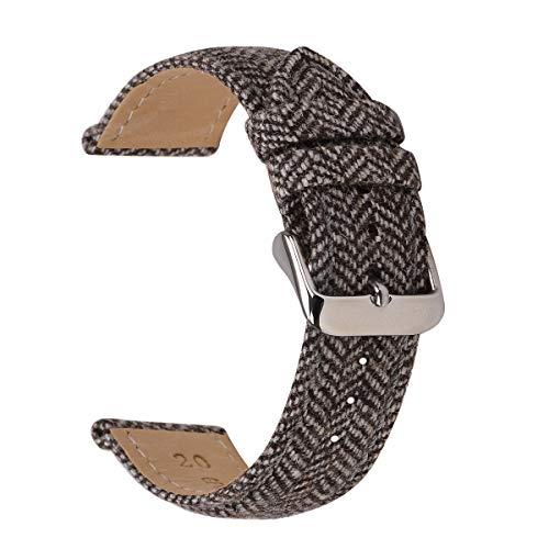 18mm Wool Watch Strap,EACHE Vintage Watch Replacement,for Women & Men 18mm Brown