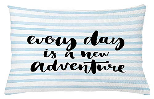 K0k2t0 Inspirational Quotes Throw Pillow Cushion Cover, Every Day is a New Adventure Calligraphy Text Watercolor Stripes Print, Decorative Accent Pillow Case, 18 X 18 Inches, Pale Blue -