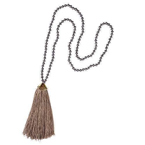 KELITCH Damen Halsketten für Frauen Herren Exquisite Kristall Achat Perlen Charme Quaste Handgefertigt Lange Personalisierte Halsketten Glänzende Kleidung Pullover Kette (Braun)