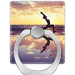 NSNNS Lot de 2 Supports universels pour téléphone Portable avec Anneau en métal Rotatif à 360 ° pour Yoga, Pilates, Lever du Soleil paisible
