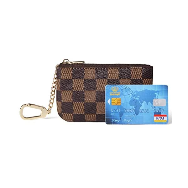 billiger Verkauf eine große Auswahl an Modellen günstigen preis genießen Daisy Rose Luxus Zip Checkered Schlüsselanhänger Pouch | Pu Vegan Leder  Mini Geldbörse Geldbörse mit Haken
