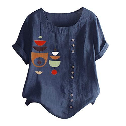 MOTOCO Damen Übergröße Kurzarm T-Shirt Top Lässig O Ausschnitt Mit Knopf Mode Tier Druck Lose Tees (2XL,Navy-2) -