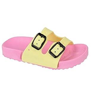 Girls Boys Kids Slip On Mules Buckle Strap Size 5 6 7 8 9 10 11 12 13 1 2 3 Summer Sliders (9 UK Child, Pink/Yellow)