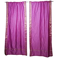 Mogul Interior Pink Sari Sheer Curtains Rod Pockets Window Treatment Dining Room Decor 96x44