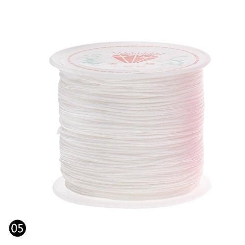 Teabelle Nylon Cord Gewinde Chinese Knoten Macrame Rattail Armband Geflochten String 0,8mm 45m/Rolle Weiß