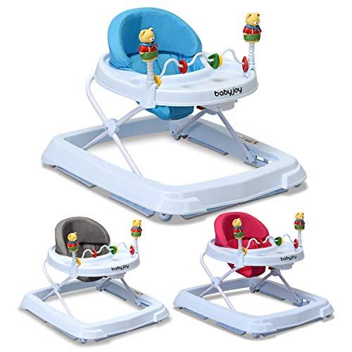 COSTWAY Lauflernhilfe Baby Walker Gehfrei Laufhilfe Lauflernwagen Laufstuhl Höhenverstellbar (Blau) (Baby Walker Einfach)