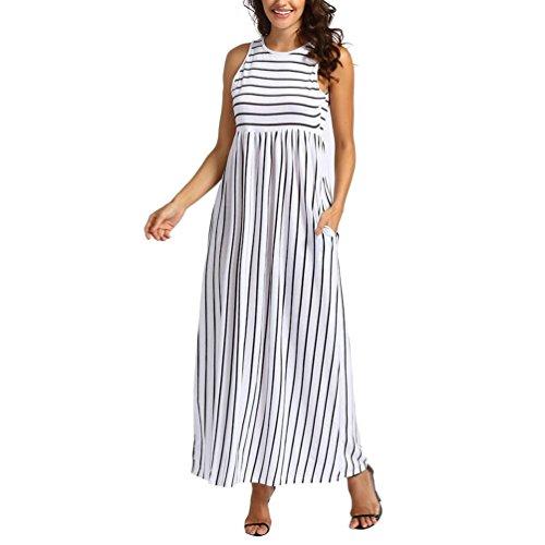 VEMOW Elegante Damen Frauen Sommer Beiläufiges Sleeveless Elastische Taille Striped Flowy Lange Maxi Täglichen Geschäfts Strandkleid Mit Taschen(Weiß, EU-50/CN-XL)
