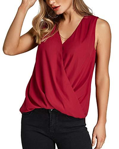 YOINS Bluse Damen Oberteile Elegant Ärmellos Chiffon Blusen Shirt Crop Tops für Damen Sommer Rot EU44