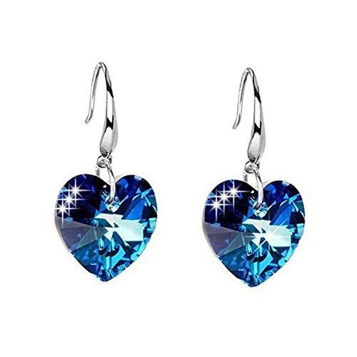 (925Silber vergoldet österreichischen Kristall blau Simulierte Saphir Herz Damen Reißfestigkeit Design Haken baumeln Ohrringe)