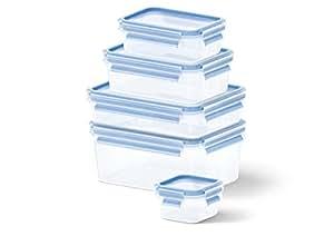 Emsa 512753 5-teiliges Frischhaltedosenset, Verschiedene Größen, Transparent/Blau, Clip & Close