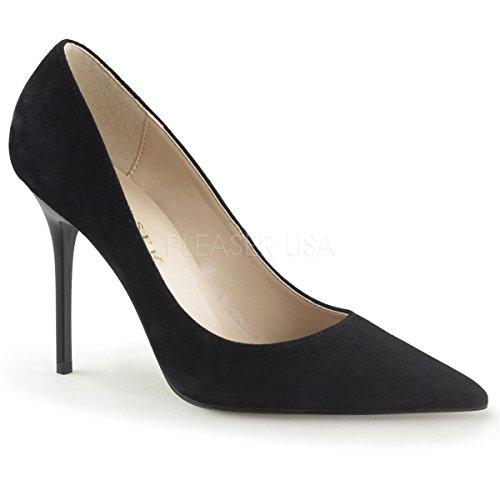 Pleaser CLASSIQUE-20, Chaussures à Talons - Avant du Pieds Couvert Femmes Blk Suede