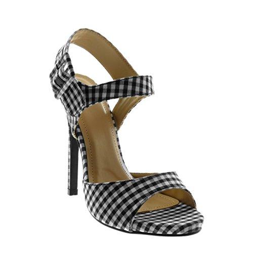 Sandalo Nero Cm Donna Stiletto Caviglia Moda Cinghia 13 Quadretti Ago Scarpa Angkorly Anello Tallone nRO67qwvvx
