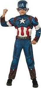 Avengers - Disfraz de Capitán America Deluxe, para niños, talla L (Rubie