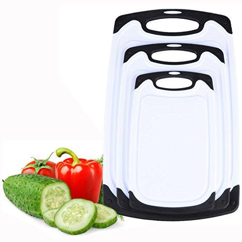 Itian 3pcs Kunststoff-Schneidebrett Set, Anti-Rutsch-Schneidebretter und Deep Tropfwasser Groove Kitchen Boards Schnitzen
