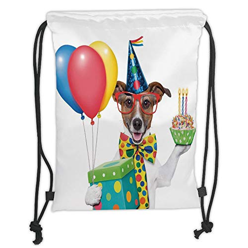 Fashion Printed Drawstring Backpacks Bags,Birthday Decorations for Kids,Waiter Server Party Dog with Hat Cone Cupcake Balloons Boxes,Multicolor Soft Satin,5 Liter Capacity,Adjustable String Closur