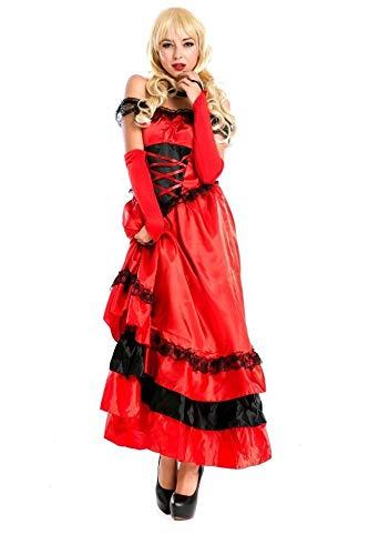 POIUYT Red Latin Dance Prinzessin Kleid Halloween Erwachsenen Cosplay Kleid Ball Kleid Engen Rock Party Stage Performance Langes Kleid Kragen + Handschuhe + Rock