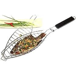 RoseFlower BBQ Steak Grillkorb Fischgriller Fischbräter Fischhalter Grillwender aus Edelstahl Grill-Korb mit Griff - Ideal Barbecue Grillen Kit für Dad, Silber