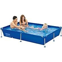 Jilong 6920388627276Marco de acero Platillos, rectangular piscina 228x 159x 42cm, passaat Azul