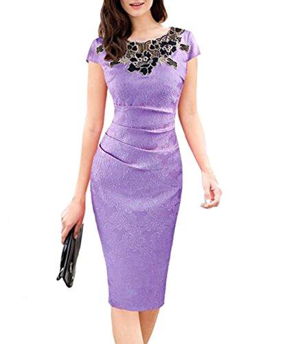 U8Vision Damen Elegant Rose Rundhals Spitze Stitching Kleid Business Etui Abendkleid Festkleid...