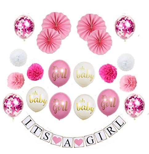 MW & P Babyparty Mädchen/ Junge - Babyshower - It's a Girl/ It's a Boy - Baby Party Dekoration - Deko - Baby Shower Set (Banner, Luftballons, Pom Poms) (Mädchen)
