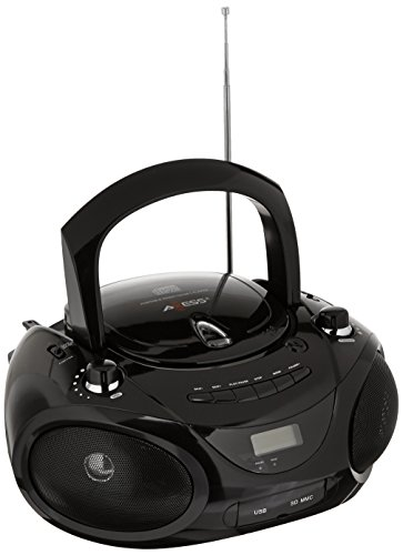 TheWholesaleHouse Axess Portable MP3/CD/USB/SD Boombox with AMFM Stereo Black