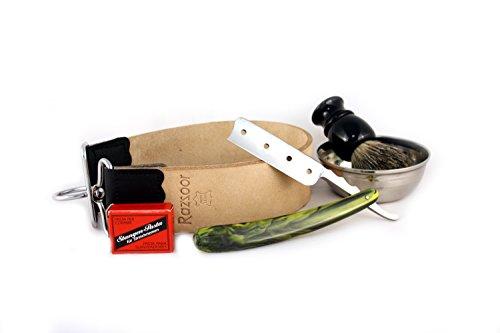 RAZZOOR Rasiermesser Set Cool 4, 6 teilig - Rasier-Set mit Rasiermesser Edelstahl-Klinge (rostfrei) Streichriemen echt Leder, Streichriemenpaste, Rasierpinsel Dachshaar, Rasierschale Edelstahl