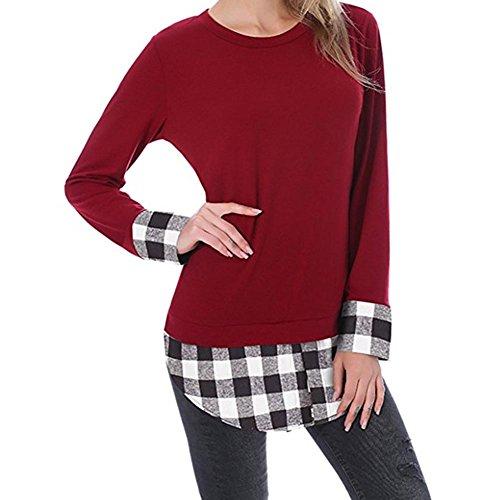 Juleya Casual donne Plaid comune irregolare Color Block tunica camicia delle parti superiori vino rosso