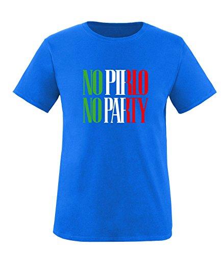 Luckja EM 2016 Trikot Italien Fanshirt No Pirlo No Party EM03 Herren Rundhals T-Shirt Royal/Gruen/Weiss/Rot