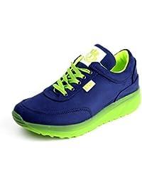 Damen Mode Komfort Schnürer Turnschuhe Flache Schuhe Sneakers Fitnessstudio Fitness Pumps - Schwarz / Grün, EU 40