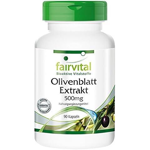 Fairvital - 90 cápsulas vegetarianas de extracto de hojas de olivo (Olea europaea) - 20 % de oleuropeína - 500