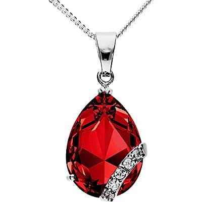 Halskette 925 Silber mit rotem Zirkonia Ornament Anhänger