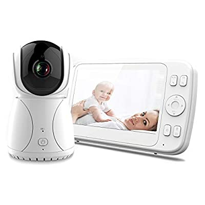 Ranpo 5'' Baby Monitor with Camera and Night Vision Temperature Alarm, with Stand Holder Extendable, Audio Video, Sound Detection,Out of Range Alert, 5 inch Two Way Communication