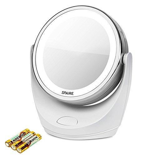 Spaire Kosmetikspiegel LED 7X/1X Vergrößerung Eitelkeitsspiegel mit Leuchten Doppelseitiger LED Kosmetikspiegel mit 360 Grad Rotation für Schönheit, Reise, Hautpflege (Gesichts-licht-schalter)