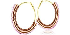 Azuni Boucles d'oreilles créoles Dreamcatcher, perles Miyuki, roses, Ø45mm