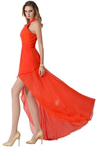 Sunvary Scollo quadrato Beautiful fondo arricciato abiti da damigella d'onore, per donna Arancione
