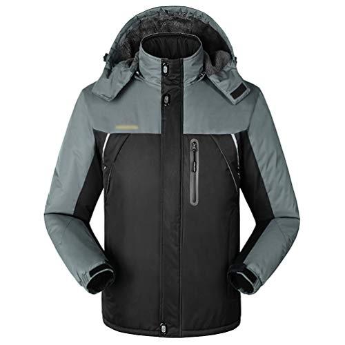 Yuandian uomo inverno all'aperto alpinismo giacca impermeabile taglia grossa caldo fodera in pile antivento traspirante montagna trekking pioggia cappotto sci giubbino cappotto nero m