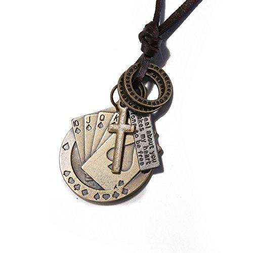iLove EU Metalllegierung Legierung Leder Echtleder Anhänger Halskette Gold Royal Flush Poker Karte Kruzifix Kreuz Ring Retro Einstellbar Verstellbaren Kette Herren,Damen