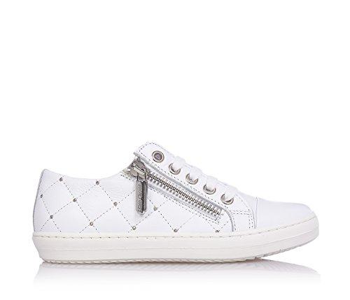 MISS GRANT - Chaussure à lacets blanche, en cuir, style élégant et très chic, avec fermeture éclair latérale, coutures visibles, logo sur la languette, Fille, Filles, Femme, Femmes