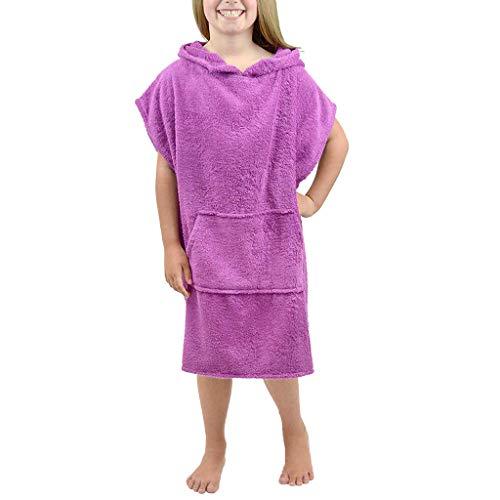 Kinder Flanell-Bademantel Mit Kapuze, TTLOVE Bademantel Outfit Für Jungen & Mädchen,Handtuch Nachthemd NachtwäSche Schlafanzug Bademantel (Lila,L)