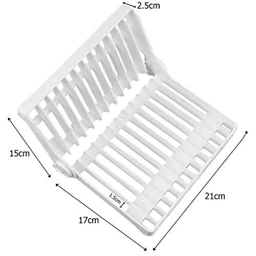 JJOnlineStore-Plegable Multiusos Cocina Escurridor Plato Organizador de cubiertos para rack titular de plástico para Escurridor fregadero seco Organizador de Hygeine, color color blanco