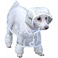 Bunty Dog Puppy PVC Waterproof Clear Transparent Rain Coat Jacket Hood Hooded - Medium