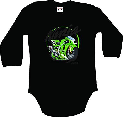 Body bébé Kawasaki Ninja Motor Unisexe Noir Manche Longue garçon Fille Autocollants Coton Peigné (6-9 Mois : 68-74cm)